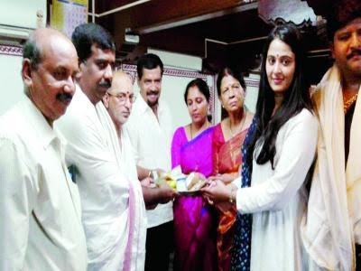 Anushka visits Mookambika temple with her brother