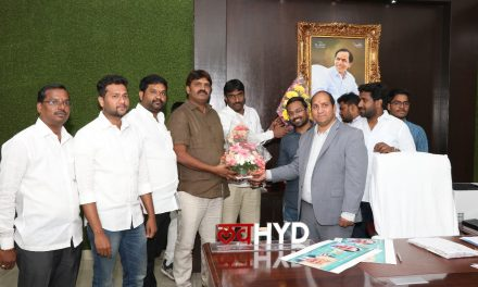 "First poster of ""Ameerpet to America"" movie released by first citizen of Hyderabad, Mayer, Sri Bonthu Rammohan Garu,"